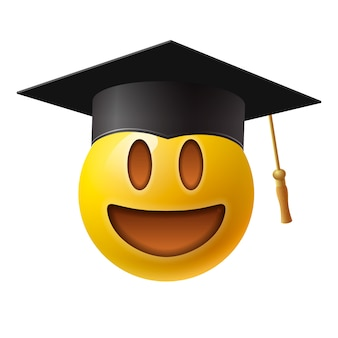 Cute smiling emoticon wearing mortar board, emoji, smiley. isolated on white background, illustration