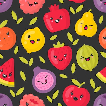 Cute smiling fruits, vector seamless pattern on dark background