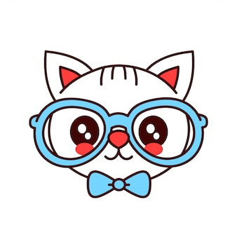 Cute smiling funny hipster cat in glasses and butterfly tie face.