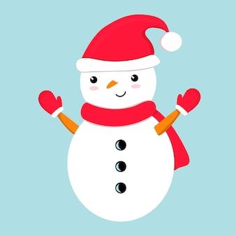 赤いサンタの帽子のスカーフミトンでかわいい笑顔の面白い雪だるまお祭りクリスマス新年のキャラクター