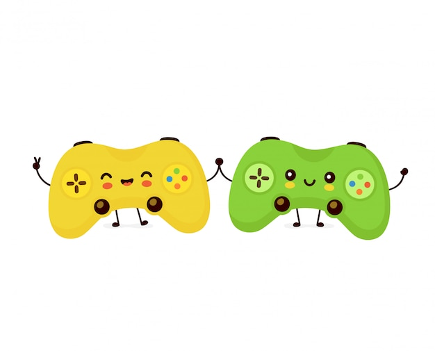 Cute smiling game joystick couple