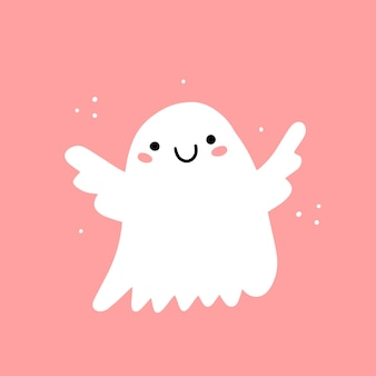 Cute smiling ghost angel on a pink background illustration with character isolated on background