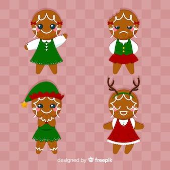 Cute smiling gingerbread girls cookies