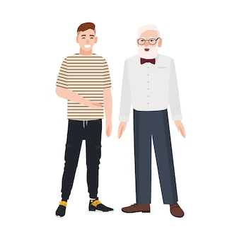 Cute smiling grandfather and grandson standing together. funny happy elderly man and young guy talking to each other and laughing. friendship between granddad and grandchild. flat illustration.