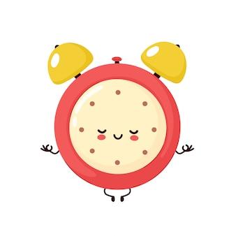 Cute smiling happy alarm time clock meditate in yoga pose.