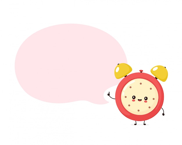 Cute smiling happy alarm time clock and speech bubble.