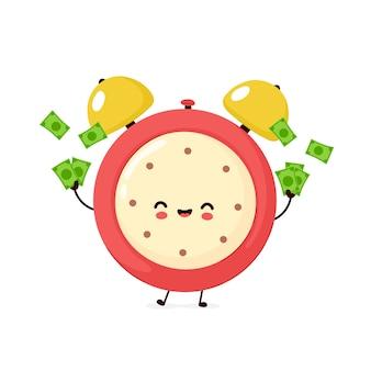 돈으로 귀여운 웃는 행복 한 알람 시계. 플랫 만화 캐릭터 일러스트입니다. 흰색 배경에 고립. 알람 시계 문자 개념