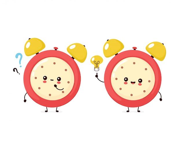 疑問符とアイデアの電球とかわいい笑顔幸せな目覚まし時計。フラット漫画キャラクターイラストアイコンデザイン。白い背景で隔離。目覚まし時計文字コンセプト