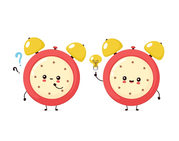 Cute smiling happy alarm time clock with question mark and idea lightbulb.  flat cartoon character illustration icon design.isolated on white background. alarm time clock character concept