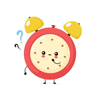Cute smiling happy alarm time clock with question mark