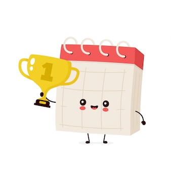 Cute smiling happy desk calendar hold gold trophy cup.  flat cartoon character illustration  .isolated on white background. desk calendar with winner trophy cup character concept