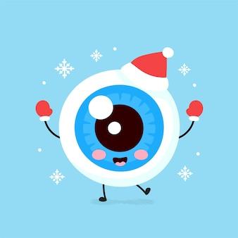 クリスマスの帽子と手袋でかわいい笑顔の幸せな眼球器官