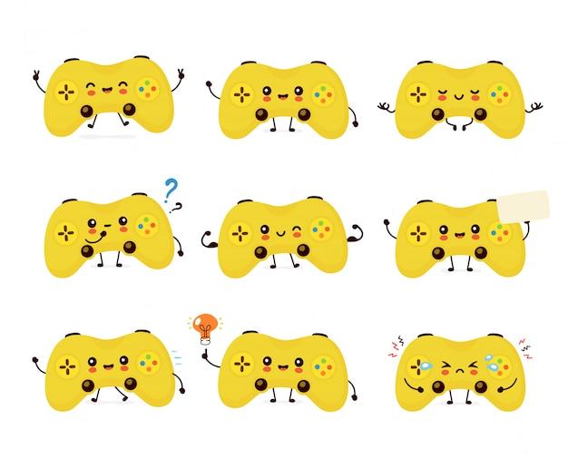 귀여운 웃는 행복 한 게임 조이스틱 컬렉션을 설정합니다. 플랫 만화 캐릭터 일러스트 레이 션. 흰색 배경에 고립. 조이스틱 문자 번들 개념