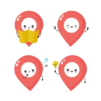 Cute smiling happy human map pin set collection.