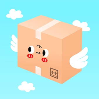 Симпатичная улыбающаяся счастливая посылка, коробка доставки с крыльями летать в небе. векторная иллюстрация плоский мультипликационный персонаж. коробка доставки, крылья, концепция персонажа мухи