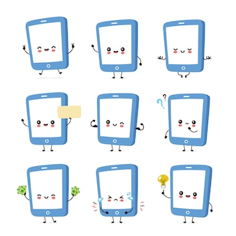 Cute smiling happy smartphone, mobile phone.  flat cartoon character illustration.isolated on white . smartphone character
