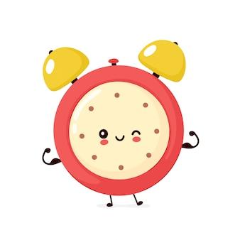 귀여운 미소 행복 강한 알람 시계는 근육을 보여줍니다. 플랫 만화 캐릭터 일러스트입니다. 흰색 배경에 고립. 알람 시계 문자 개념
