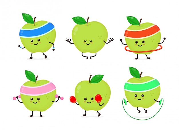 Cute smiling happy strong apple health and fitness set