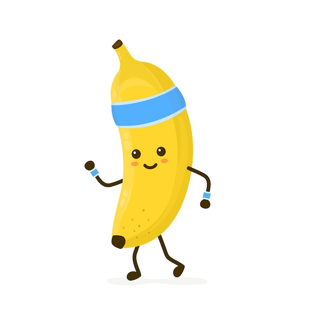 귀여운 웃는 행복 강한 바나나 실행. 플랫 만화 캐릭터 일러스트 아이콘입니다. 흰색에 고립. 바나나, 체육관 라이프 스타일, 스포츠 실행, 건강, 피트 니스 영양