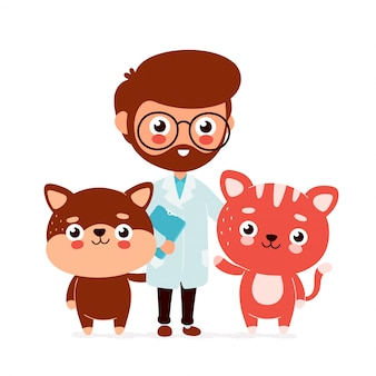 Cute smiling happy veterinarian doctor with a cat and a dog