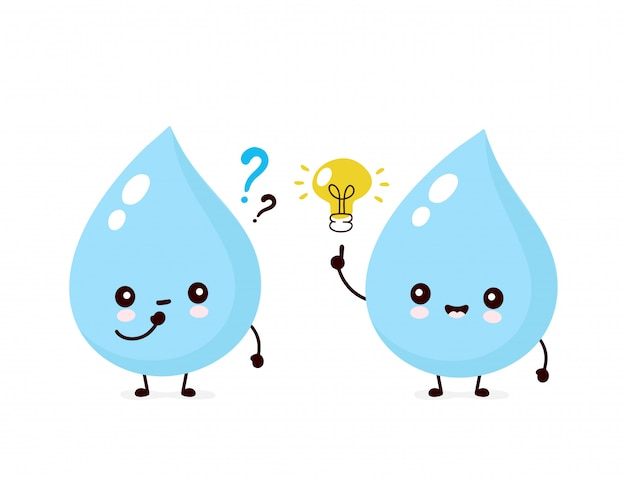 Cute smiling happy water drop with question marks and light bulb.  flat cartoon character illustration.isolated on white .water drop character
