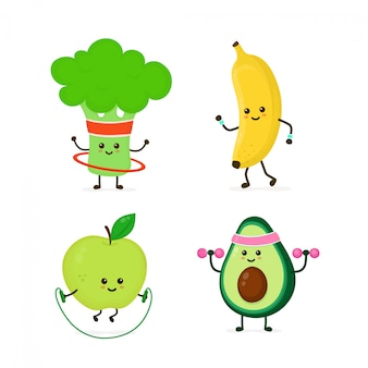 Cute smiling healthy food doing exercise set