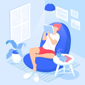 Cute smiling lady sitting in comfy armchair and reading fiction book Premium Vector