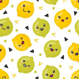 귀여운 미소 레몬과 라임 과일 프리미엄 벡터
