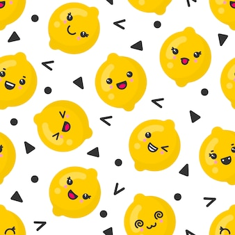 Cute smiling lemon fruits,   seamless pattern on white background