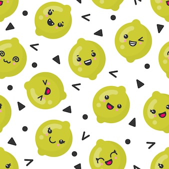 Cute smiling lime fruits, vector seamless pattern