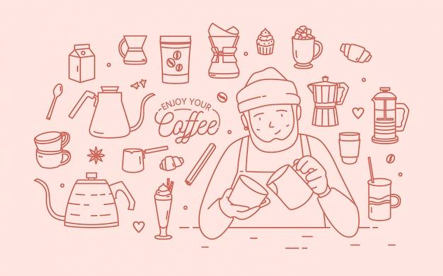 Симпатичный улыбающийся мужской мультипликационный персонаж в шляпе и фартуке в окружении десертов, специй и инструментов для приготовления кофе, нарисованный контурными линиями розового цвета. иллюстрация в линейном стиле.