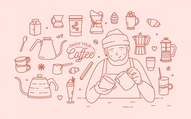 Cute smiling male cartoon character wearing hat and apron surrounded by desserts, spices and tools for coffee brewing drawn with contour lines in pink color. illustration in lineart style.