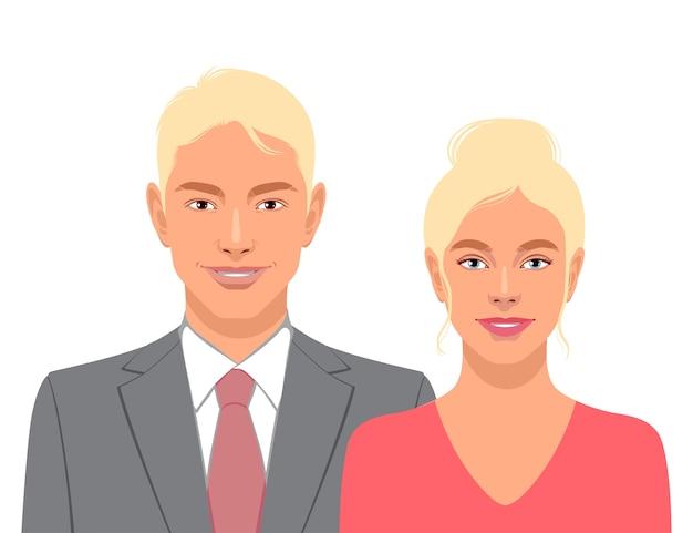 귀여운 웃는 남자와 여자는 흰색 배경에 고립.