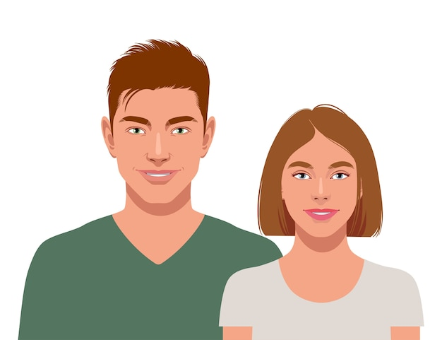 Cute smiling men and woman isolated on white background.