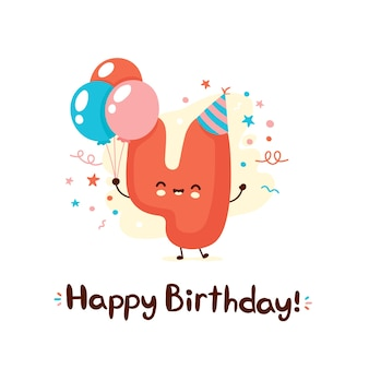 Cute smiling number four with balloons in festive hat. happy birthday 4 year.vector flat cartoon character illustration icon design.isolated on white background. happy birthday 4 year card concept