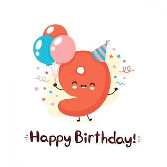Cute smiling number nine with balloons in festive hat. happy birthday 9 year.cartoon character.