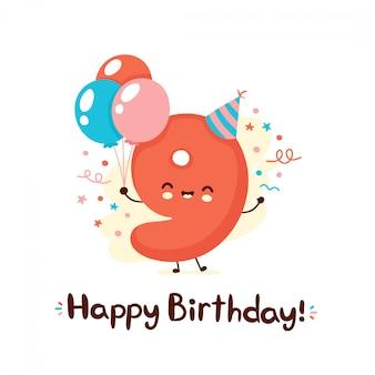 お祝い帽子の風船でかわいい笑顔数9。お誕生日おめでとう9年。漫画のキャラクター。