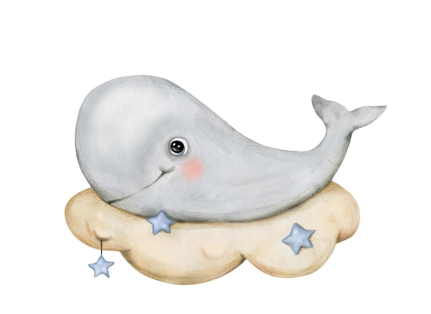 Cute smiling nursery style whale on the cloud in the night sky with stars in watercolor