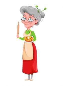 かわいい笑顔の老婆。幸せな祖父母の日