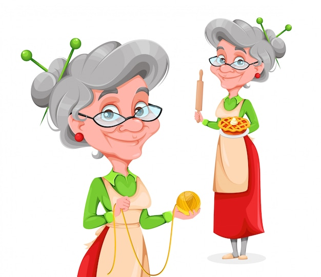 Cute smiling old woman, set of two poses