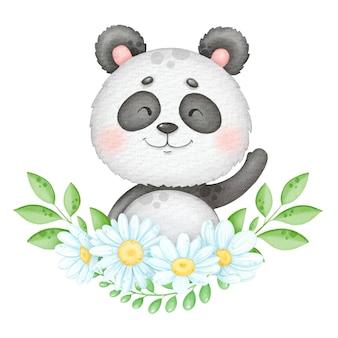 Милый улыбающийся медведь панда с цветочным венком, акварель, детская иллюстрация, печать