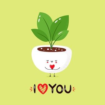 Милое улыбающееся растение держит сердце в руках