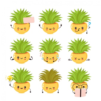 Cute smiling plant setcollection