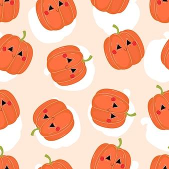 Симпатичная улыбающаяся тыква для хэллоуина бесшовные модели в плоском стиле