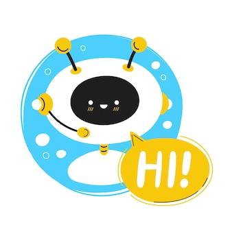 귀여운 웃는 로봇, ai 채팅 봇, 말풍선에 안녕하세요. 벡터 만화 캐릭터 그림 아이콘입니다. 흰색 배경에 격리. 음성 지원 서비스 채팅 봇, 온라인 도움말 고객 도우미 로고 아이콘
