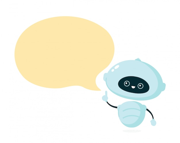 Cute smiling robot, bot with speech bubble.