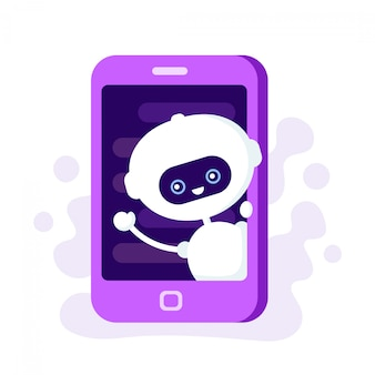 Cute smiling robot, chat bot in smartphone. modern flat style cartoon character illustration. isolated on white background. voice support, virtual online help support concept