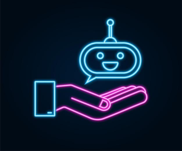 Милый улыбающийся робот в руках неоновый значок вектор современная плоская мультипликационная иллюстрация персонажа