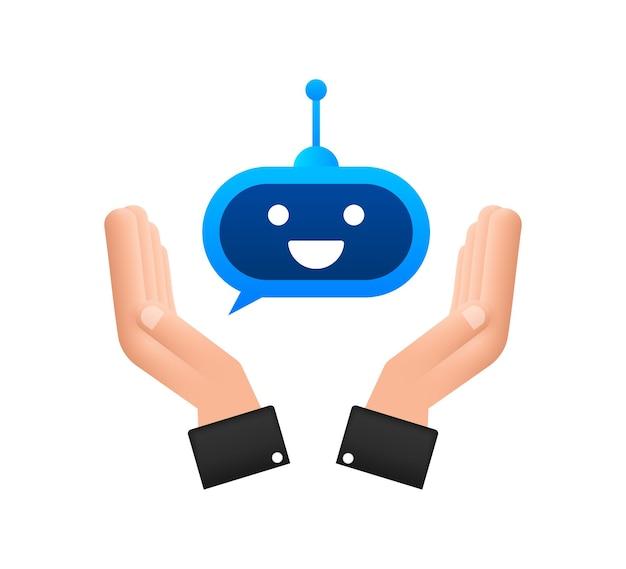 Симпатичный улыбающийся робот в руках