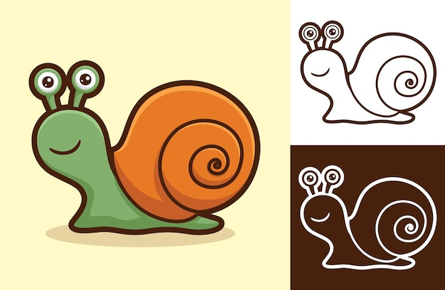 Cute smiling snail. cartoon illustration in flat style
